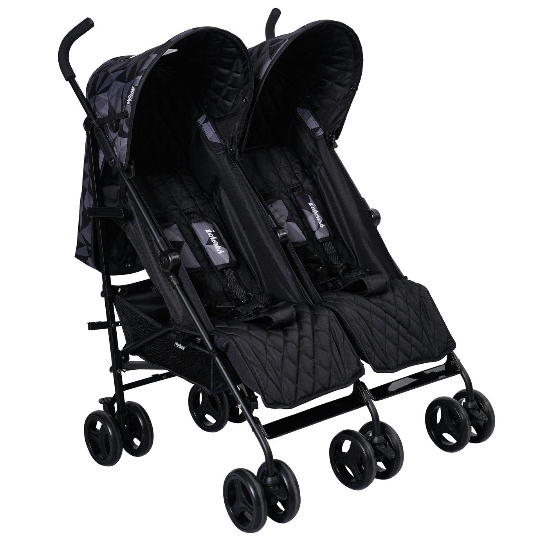 My Babiie MB11 Geo Twin Stroller Black