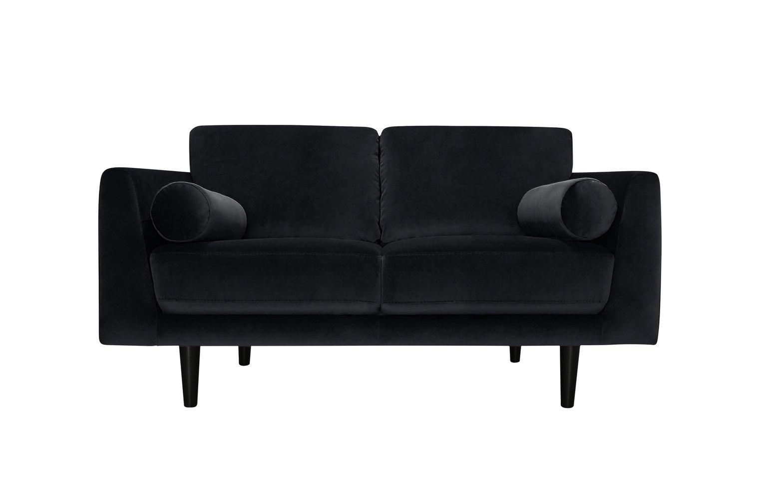 Habitat Jackson 2 Seater Velvet Sofa - Black