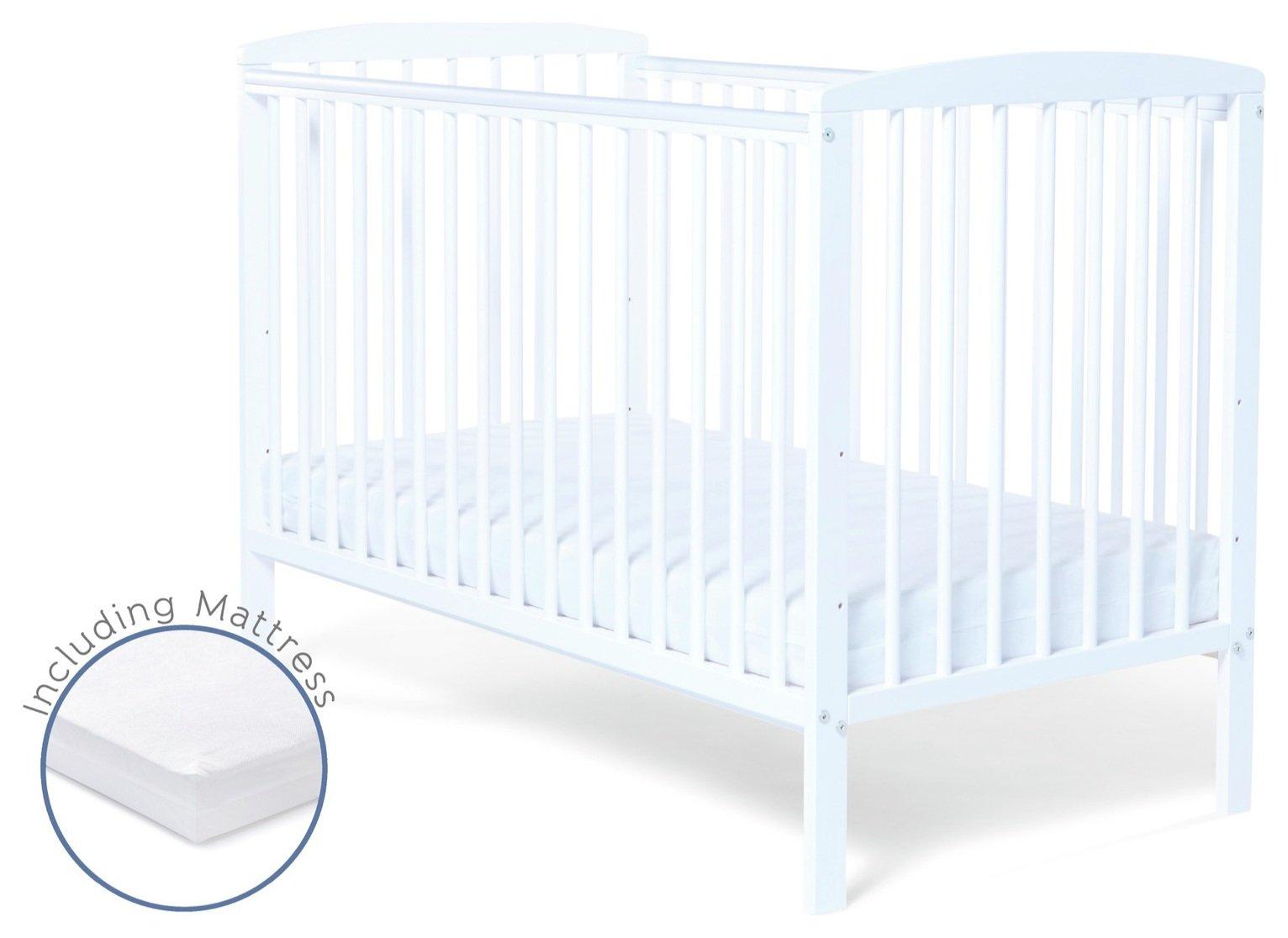 Baby Elegance Starlight Baby Cot with Mattress - White