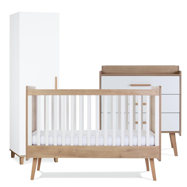Silver Cross Westport Cot Bed Dresser Wardrobe Set - White