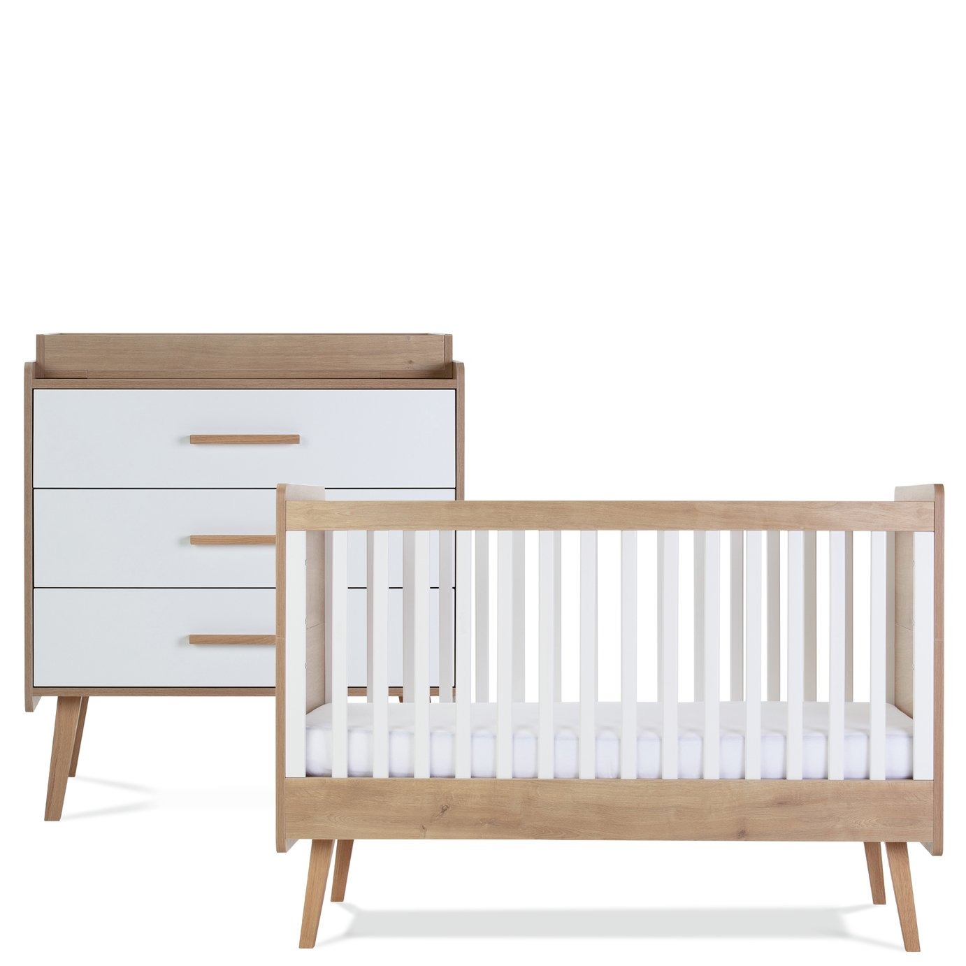 Silver Cross Westport Cot Bed and Dresser Set - White