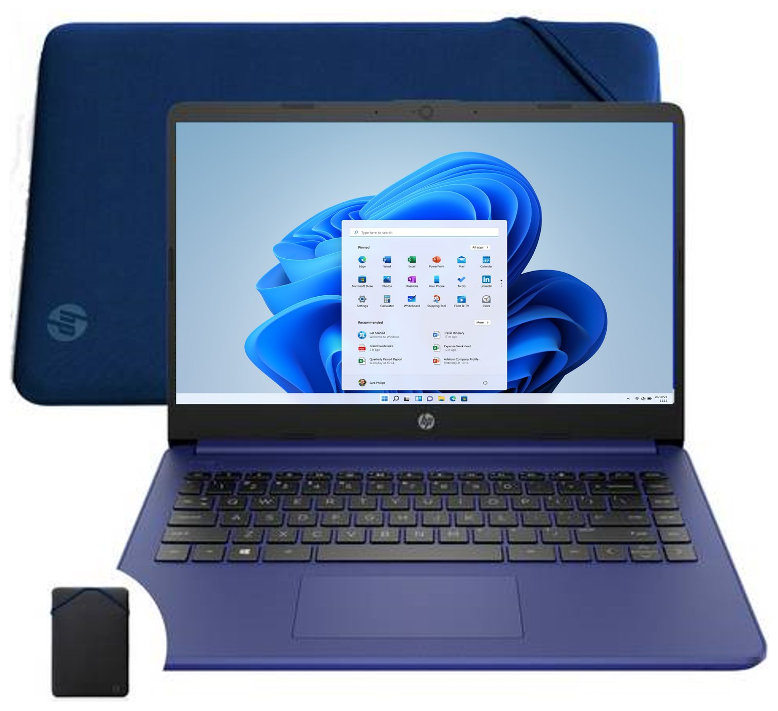 HP 14s-fq0022na 14in AMD Athlon 4GB 64GB Laptop - Blue