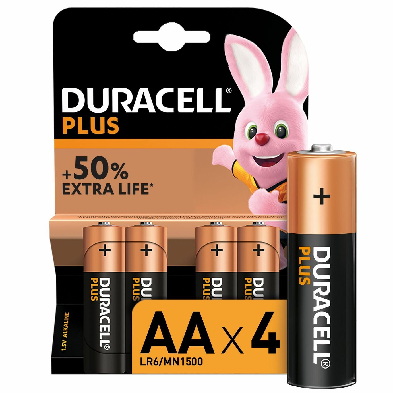 Duracell Plus Alkaline AA Batteries - Pack of 4