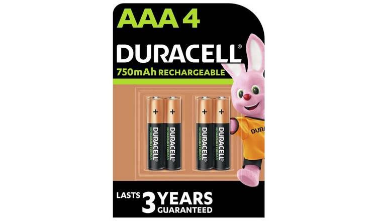 Duracell Rechargeable AAA 750mAh Batteries - Pack of 4