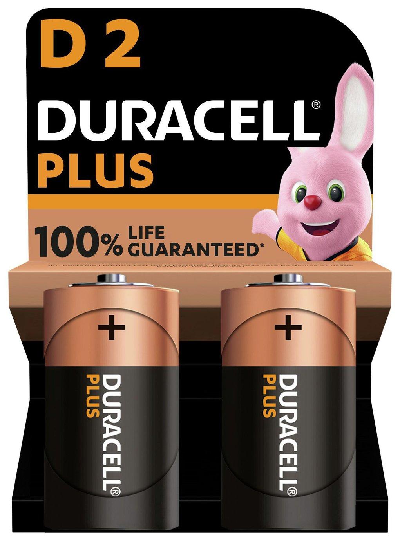 Duracell Plus Alkaline D Batteries - Pack of 2