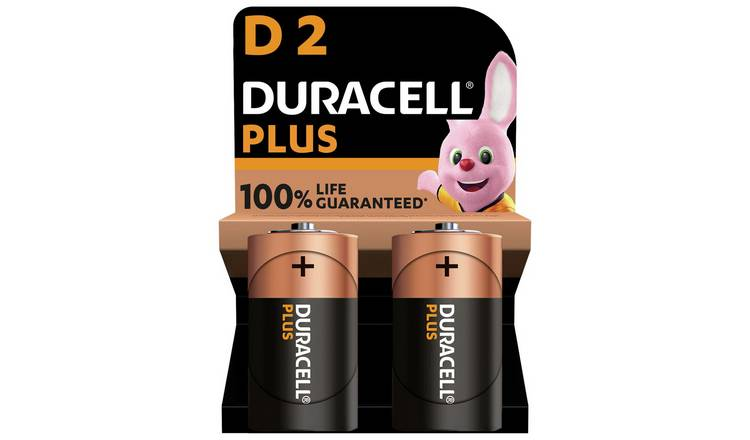 Duracell Plus Alkaline D Batteries - Pack of 2