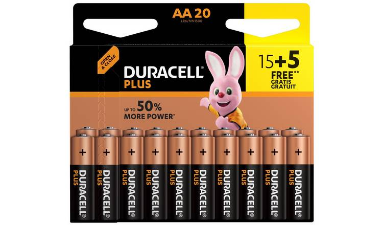 Duracell Plus Alkaline AA Batteries -Pack of 15+5 Free