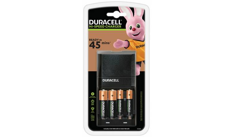 Duracell 45 Minutes Battery Charger with 2 AA and 2 AAA
