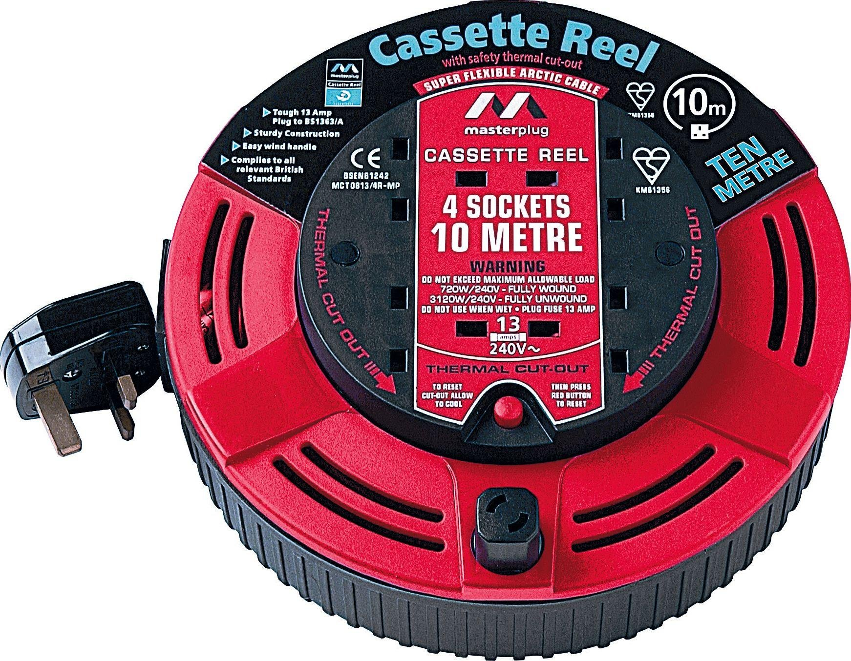 Masterplug - 4 Socket Cable Reel - 10m