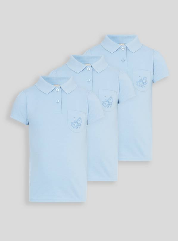 Blue Embroidered Pocket Polo Shirts 3 Pack - 6 years