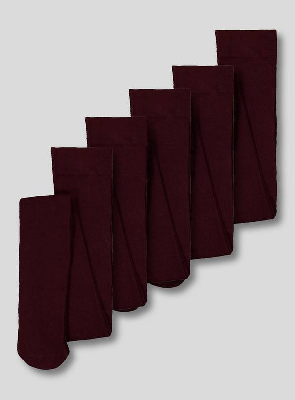 Burgundy Supersoft Tights 5 pack - 18-24 months