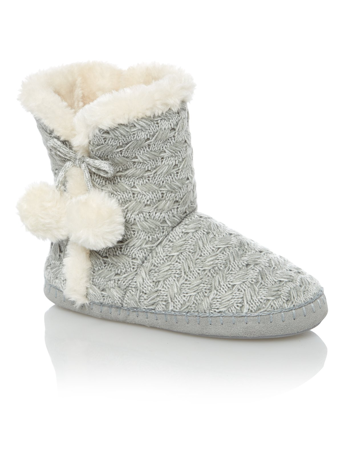 Womens Grey Cable Knit Slipper Boots