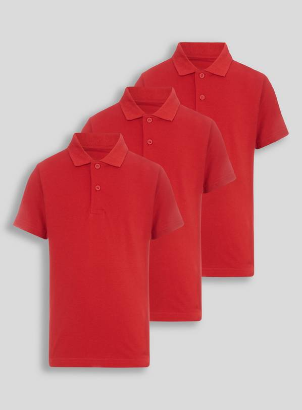 942013639 Buy Unisex Red Polo Shirts 3 Pack - 10 years
