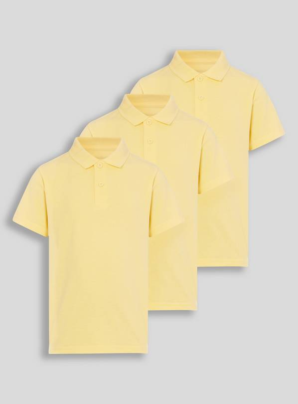 Yellow Unisex Polo Shirts 3 Pack - 7 years