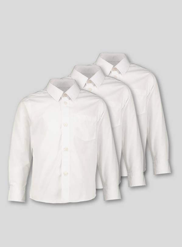 White Long-Sleeved School Shirts 3 Pack - 8 years