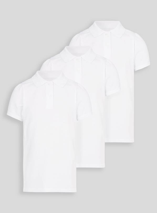 White Scallop Shape Collar Polo Shirts 3 Pack - 16 years