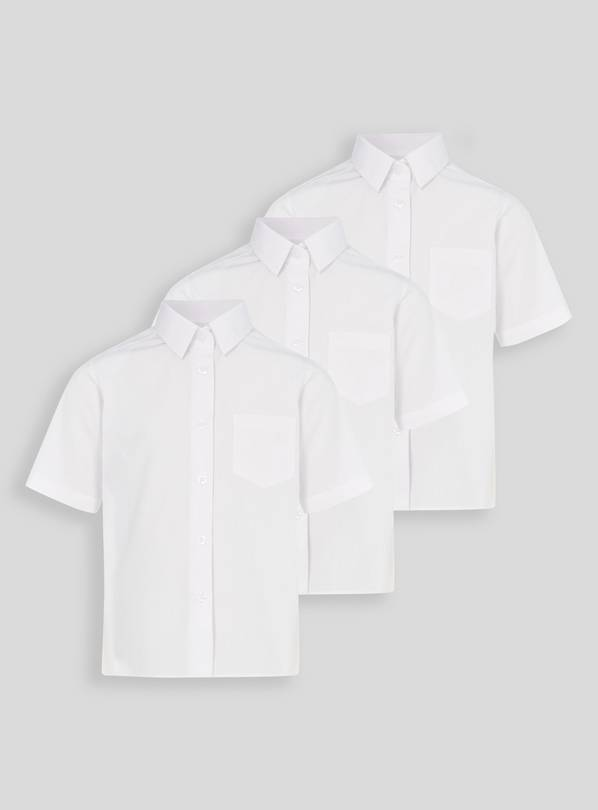 White Woven Non Iron School Shirts 3 Pack - 6 years