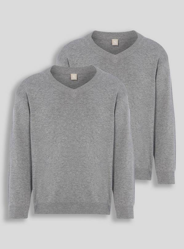 Grey V-Neck Jumpers 2 Pack - 3 years