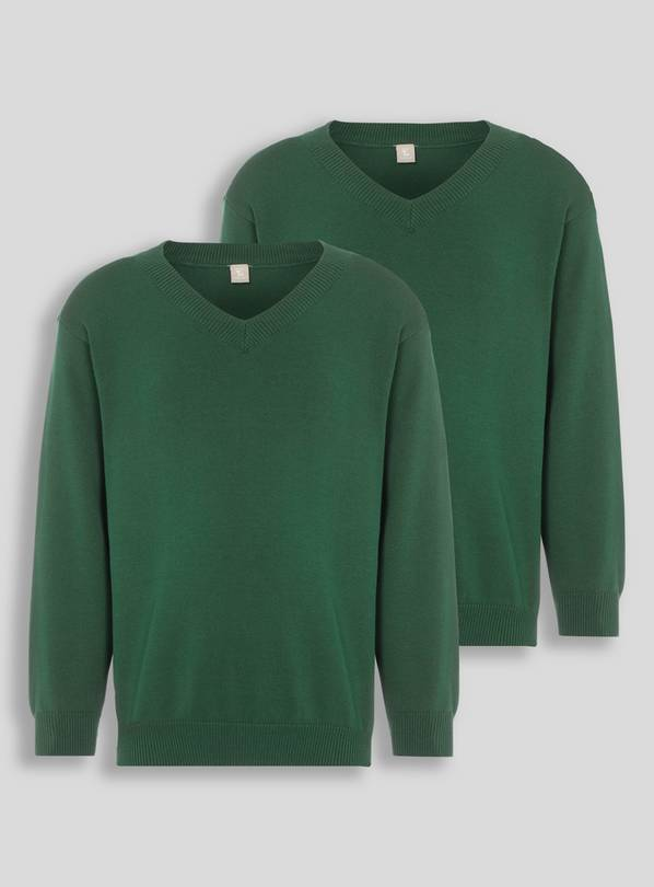 Green V-Neck Jumpers 2 Pack - 4 years