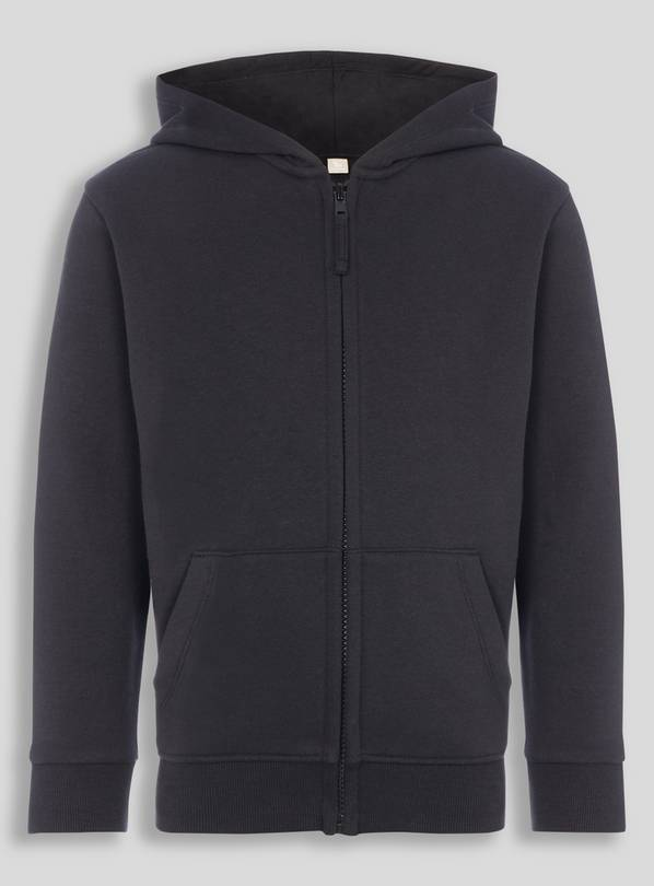 Black Zip Through Hooded Sweat - 13 years