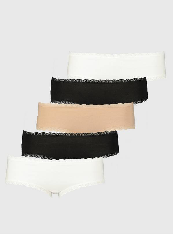 Neutral Lace Trim Knicker Shorts 5 Pack - 10