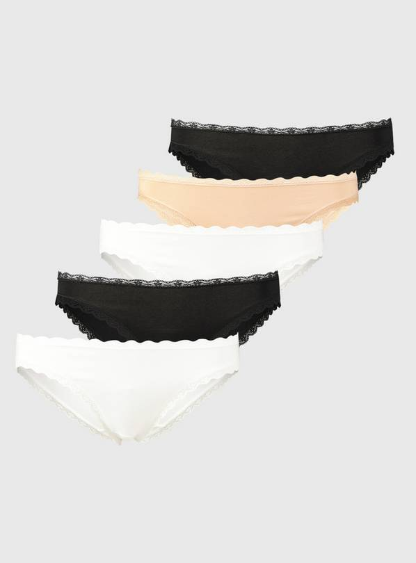 Multicoloured Supersoft High Leg Knickers 5 Pack - 14