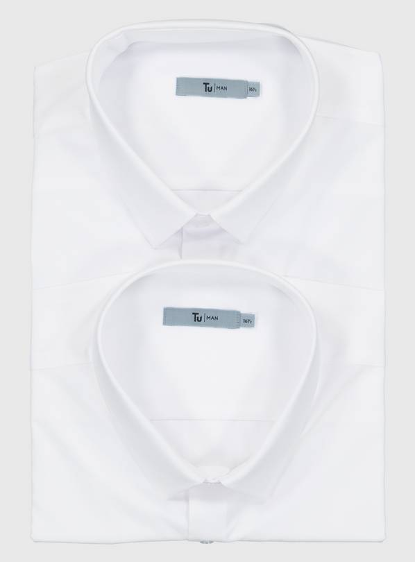 White Slim Fit Short Sleeve Shirt 2 Pack - 15.5