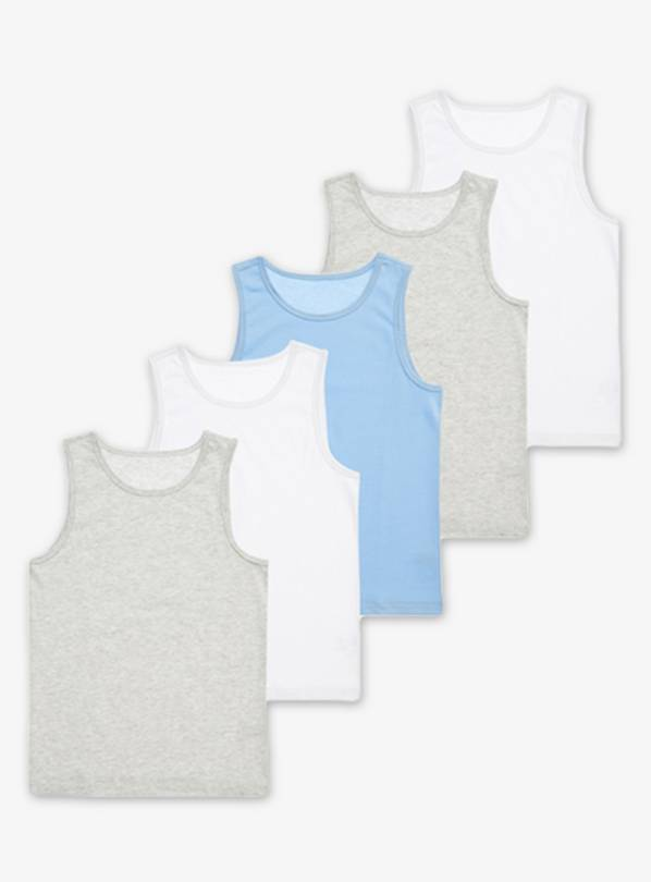 Multicoloured Vests 5 Pack - 8-9 years