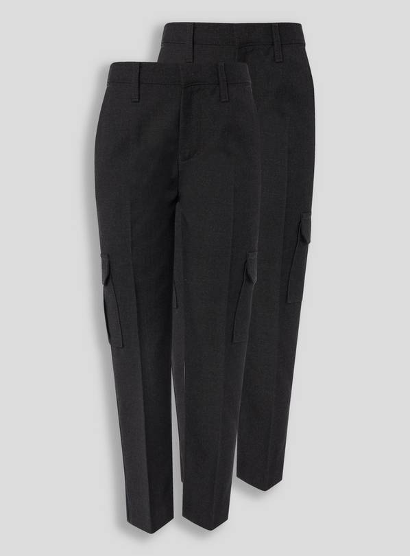 Charcoal Cargo Trousers 2 Pack - 9 years