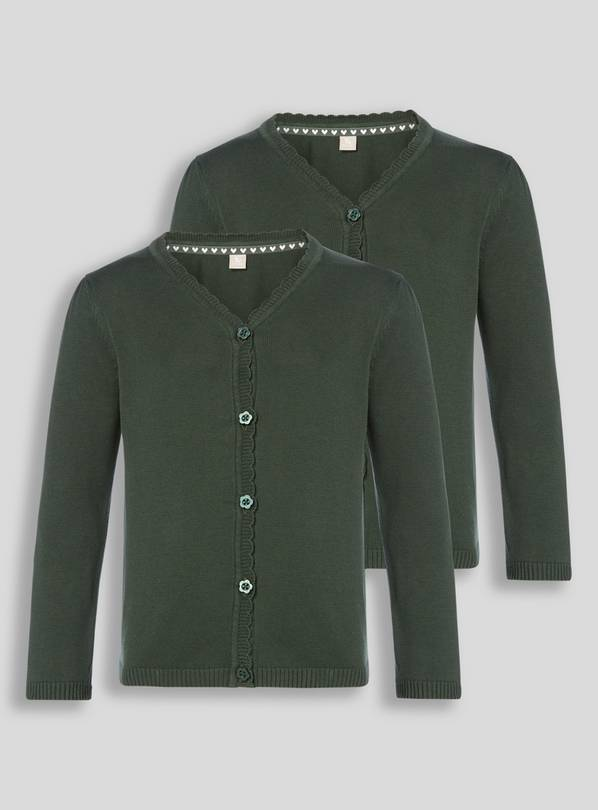 Green Scalloped Cardigan 2 Pack - 11 years