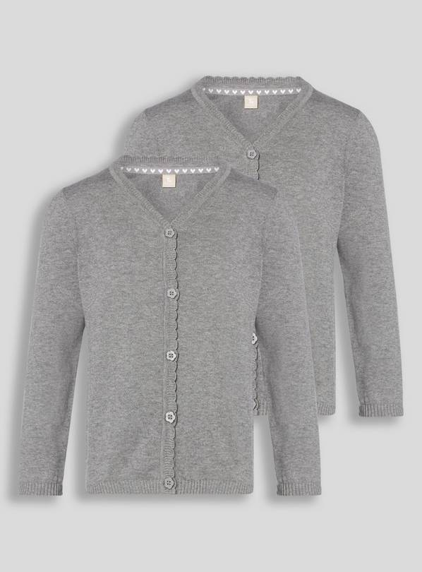 Grey Scalloped Cardigan 2 Pack - 9 years