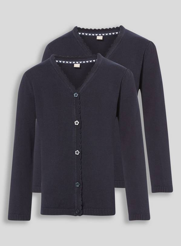 Navy Scalloped Cardigan 2 Pack - 11 years