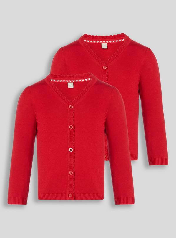 Red Scalloped Cardigan 2 Pack - 12 years