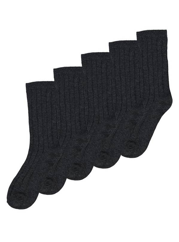 Grey Ribbed Socks 5 Pack - 4-6.5