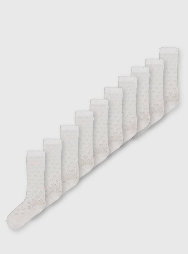White Knee-High Socks 5 Pack - 4-5.5