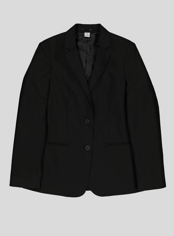 Black Right-Facing Button Stain Resistant Blazer - 14 years