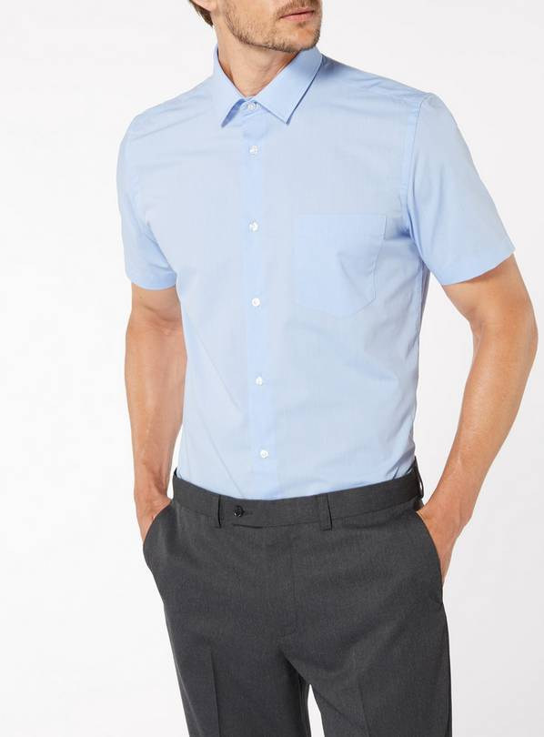 Blue Tailored Fit Easy Iron Short Sleeve Shirts 2 Pack - 19