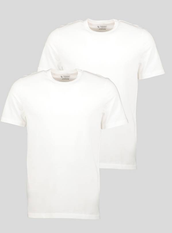 White Crew Neck T-Shirt 2 Pack - S