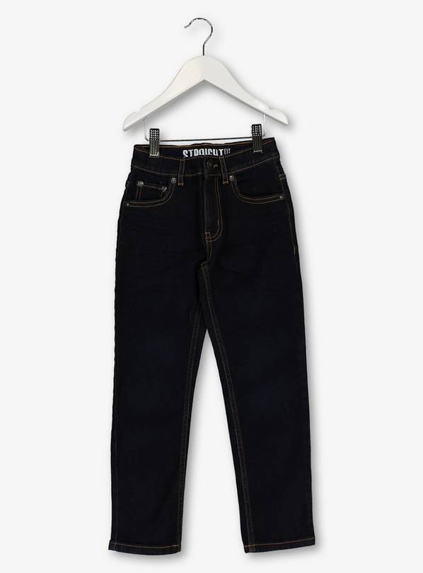 Navy Straight Leg Denim Jeans With Stretch - 13 years