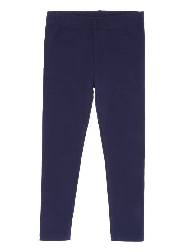 Navy Plain Leggings - 8 years