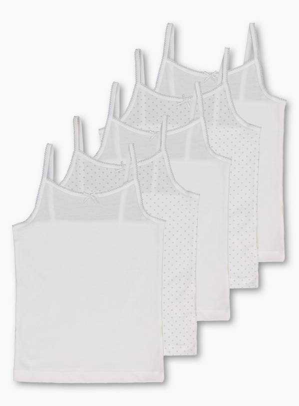 White Glitter Cami Vests 5 Pack - 8-9 years