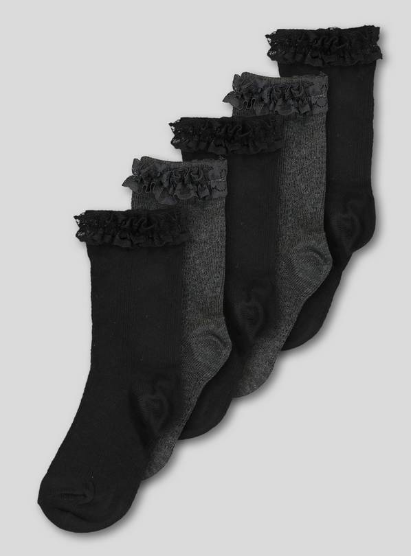 Black & Grey Lace Trim Socks 5 Pack - 6-8.5