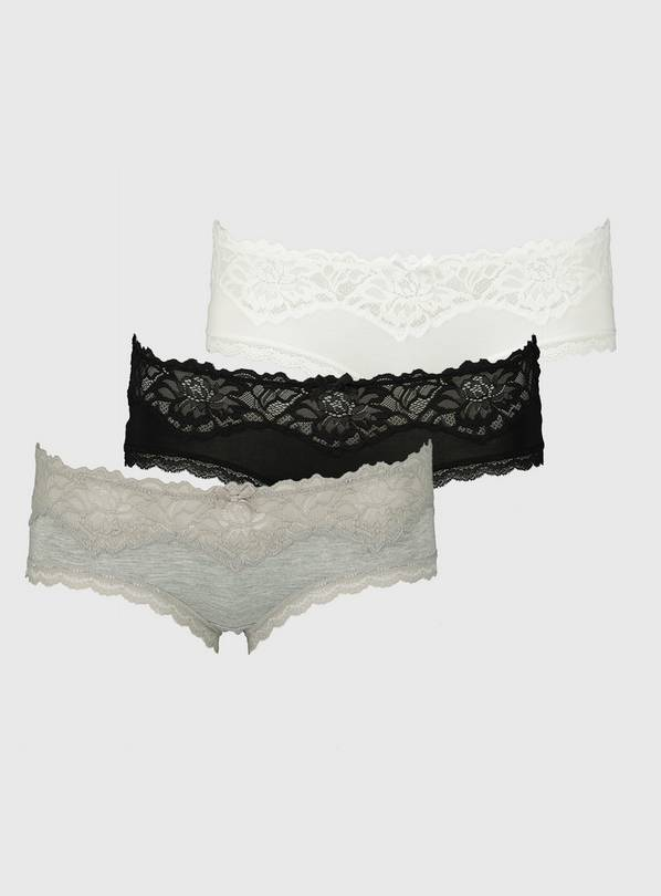 Multicoloured Lace Knicker Shorts 3 Pack - 8