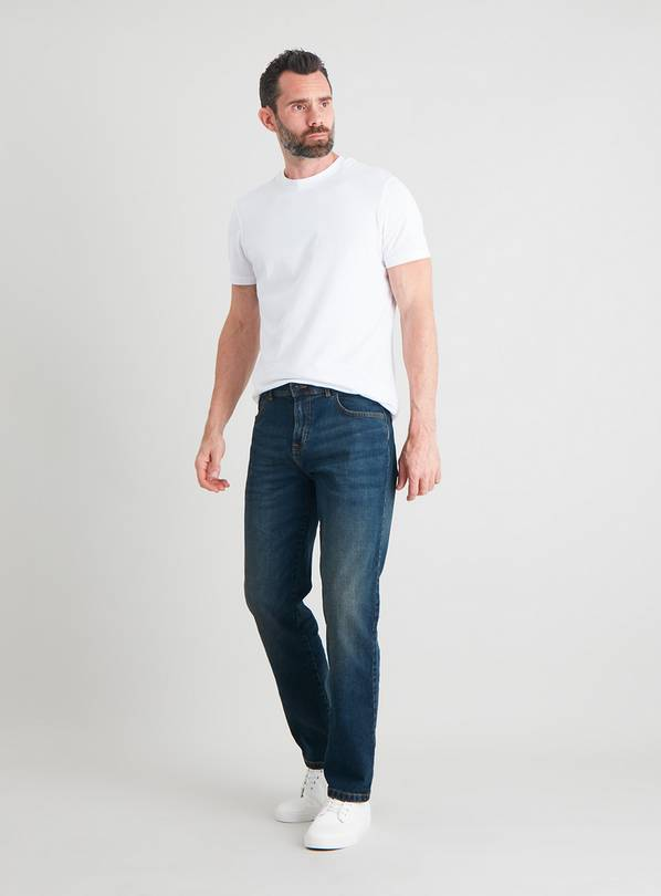 Mid Wash Denim Straight Leg Jeans with Stretch - W38 L30
