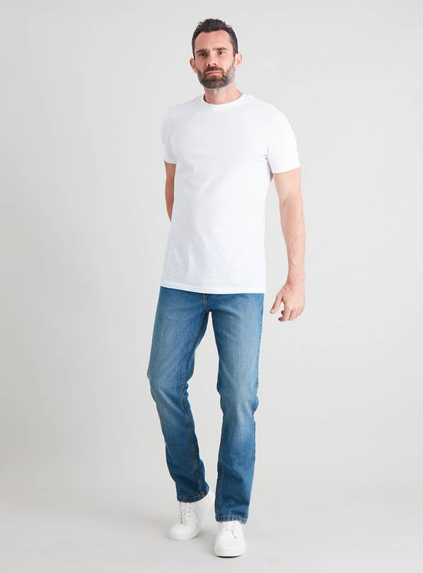 Light Wash Denim Slim Fit Jeans With Stretch - W38 L32