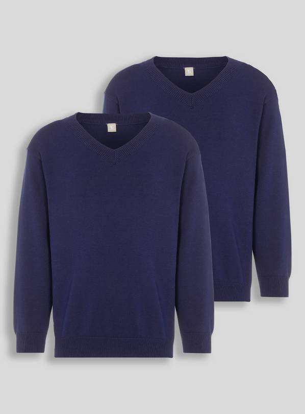 Navy V-Neck Jumpers 2 Pack - 16 years