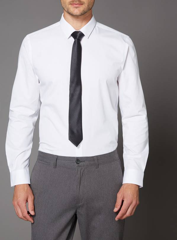 White Slim Fit Shirt & Black Tie Set - 14.5
