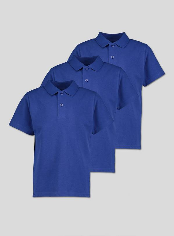 Royal Blue Unisex Polo Shirts 3 Pack - 4 years