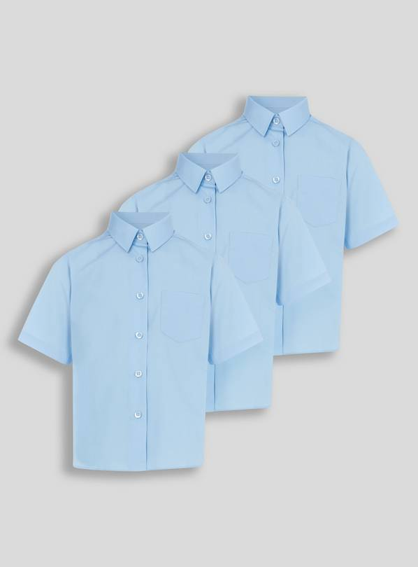 Blue Woven Non Iron School Shirts 3 Pack - 14 years