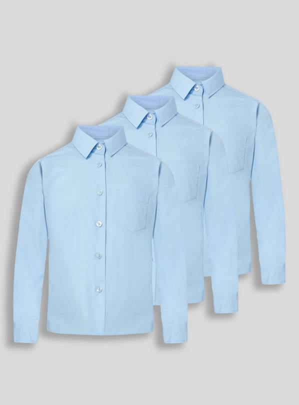 Blue Non Iron Long Sleeve School Shirts 3 Pack - 16 years